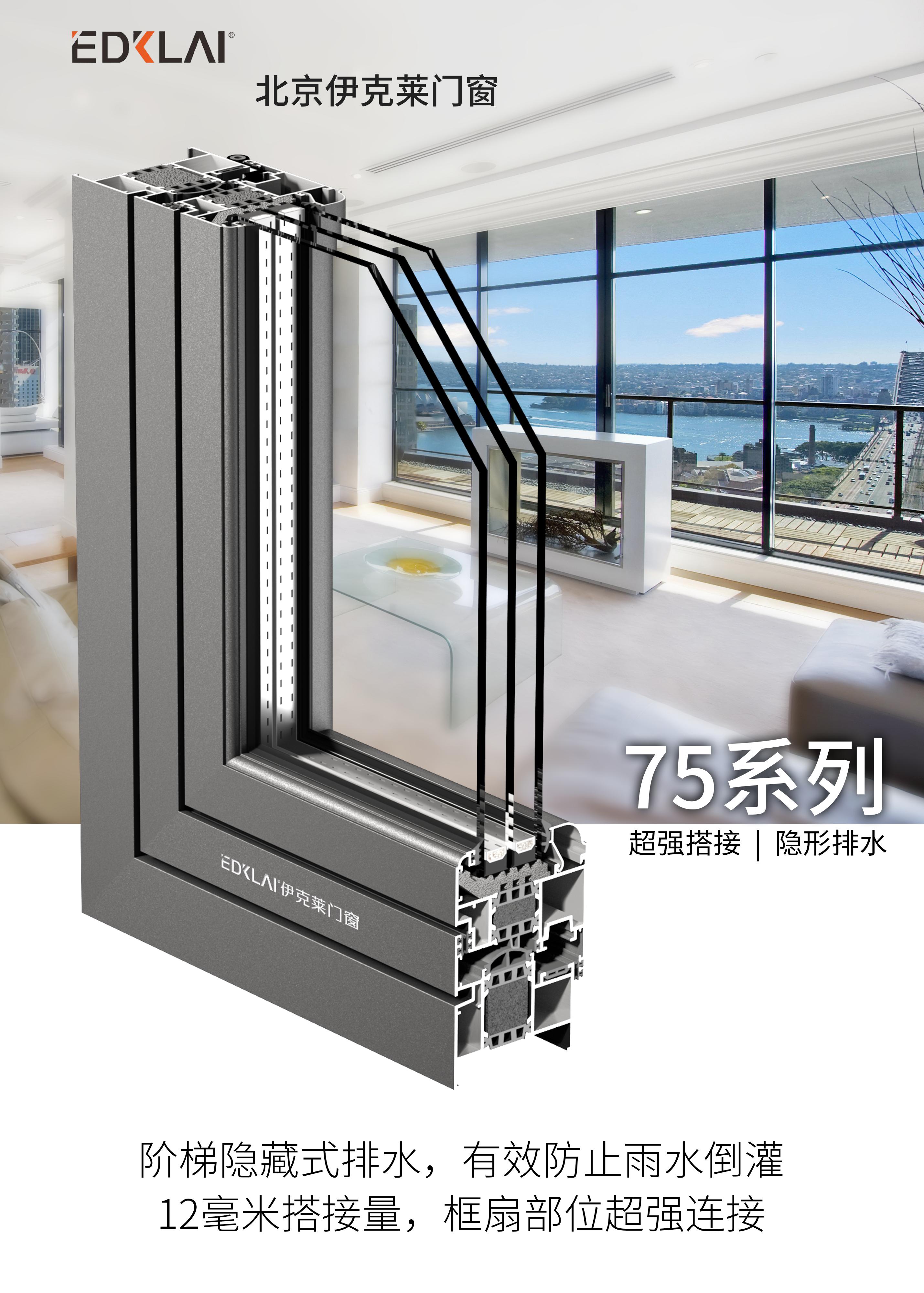 75系列超强搭接隐形排水系统窗